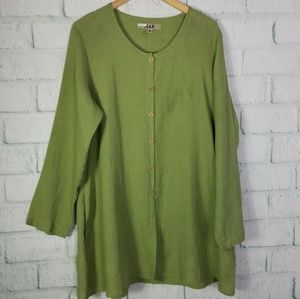 Flax Green Button Tunic With Pockets